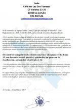 Sanción equipo Media Luna 13